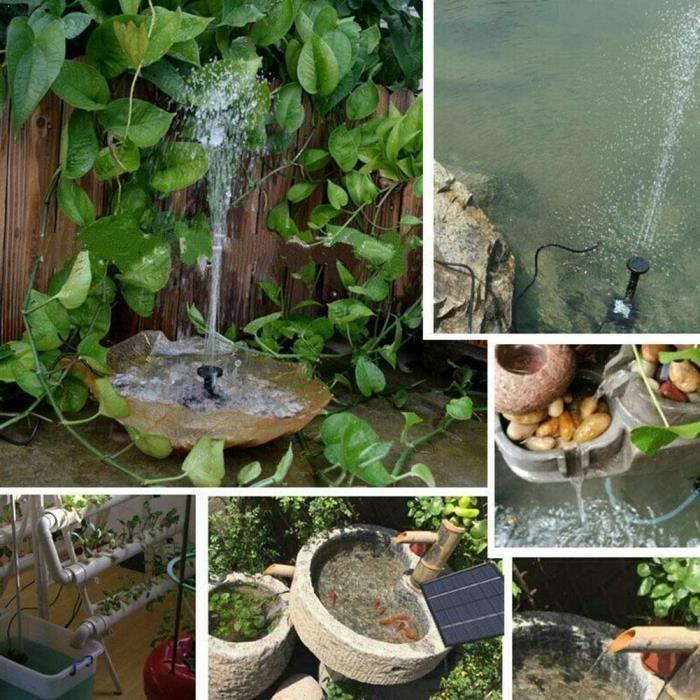 Pompe de fontaine solaire pour bain d'oiseaux petit étang réservoir de poissons fontaine solaire rapide fontaine de jardin 1.8W