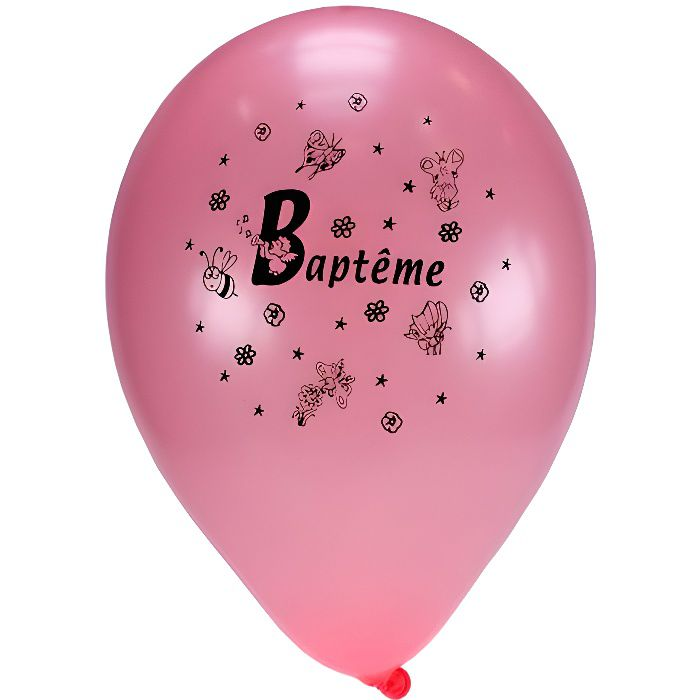 Sachet De 10 Ballons Rose ''Baptême''