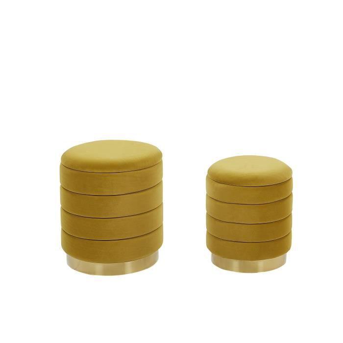 Set de 2 poufs en velours jaune moutarde avec rangement GARLAND