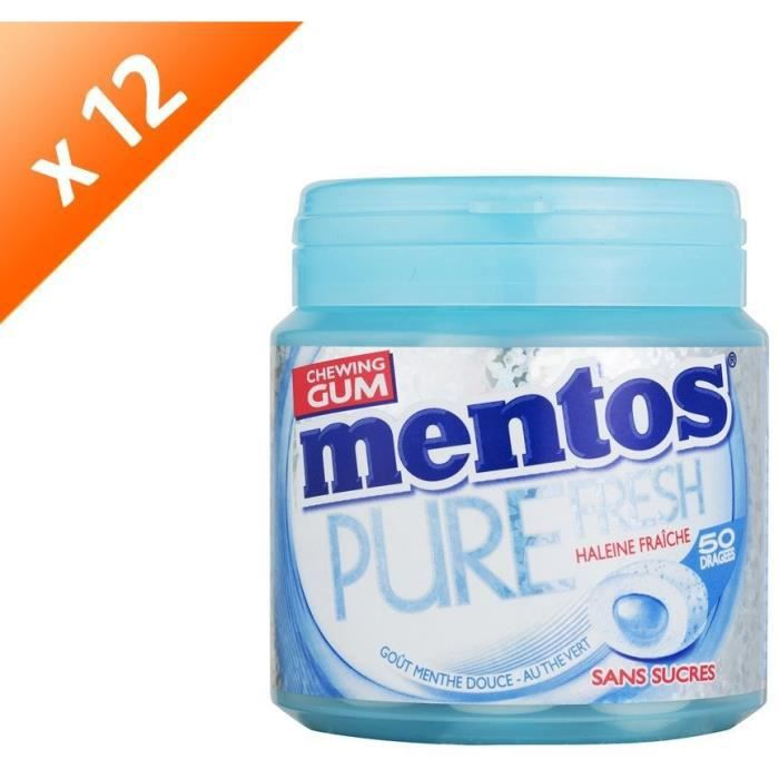 [LOT DE 12] MENTOS GUM PURE FRESH Bottle de 50 dragées sans sucres - Menthe douce