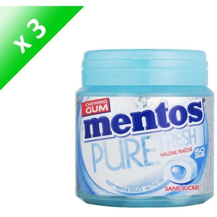[LOT DE 3] MENTOS GUM PURE FRESH Bottle de 50 dragées sans sucres - Menthe douce