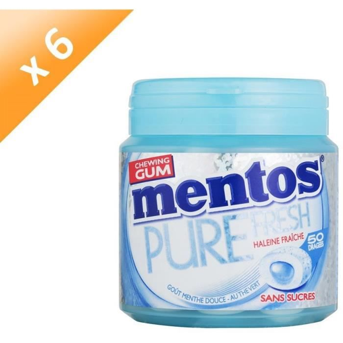 [LOT DE 6] MENTOS GUM PURE FRESH Bottle de 50 dragées sans sucres - Menthe douce