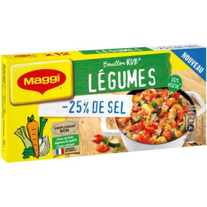 MAGGI Bouillon Kub Légumes -25% de sel - 12 tablettes