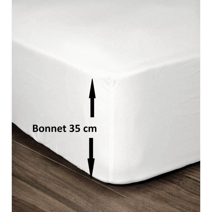 LOVELY HOME Drap Housse 100% Coton 140x190cm - Bonnet 35cm - Blanc