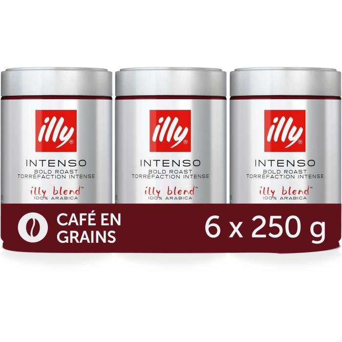 ILLY Café en Grains Intenso - 100% Arabica - 6 boîtes de 250g soit 1,5kg