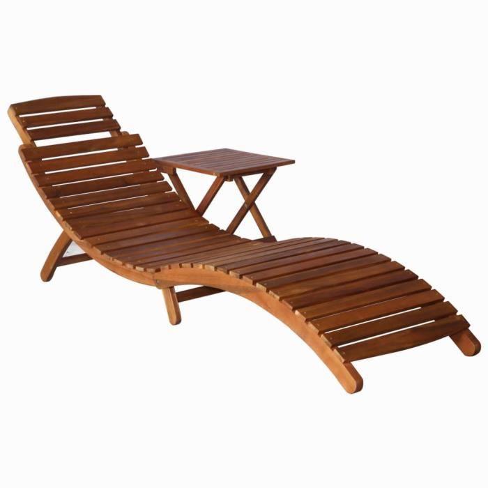 Chaise longue avec table Bois d'acacia massif Marron-MAD