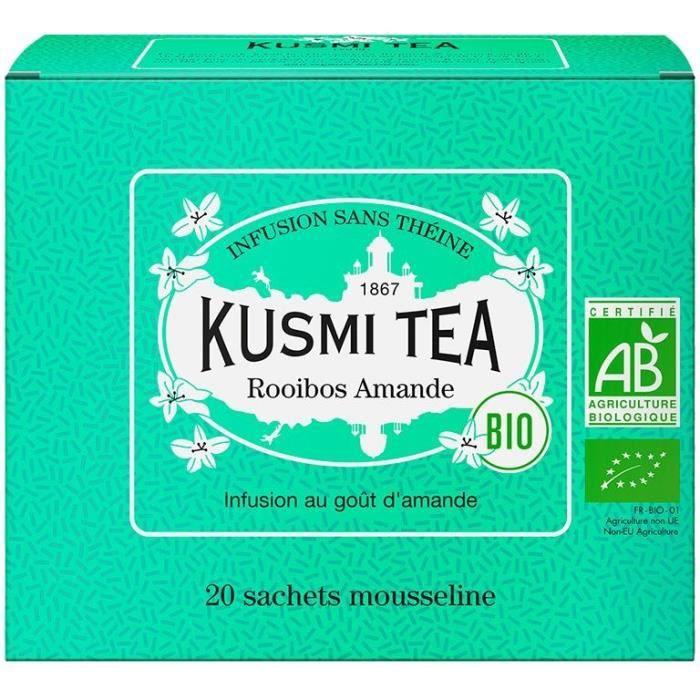 KUSMI TEA Infusion Rooibos Amande - Bio - Etui 20 sachets mousseline - 40 g