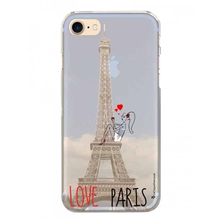 Coque rigide transparent Love Paris iPhone 7-8