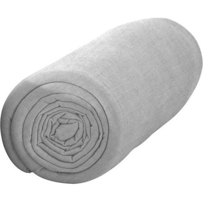 TODAY Drap housse 100% coton - 90 x190 cm - Zinc TODAY