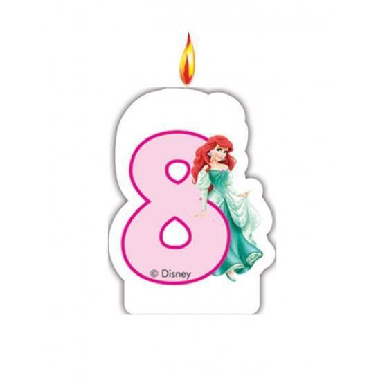 Bougie chiffre anniversaire disney princess 8 ans