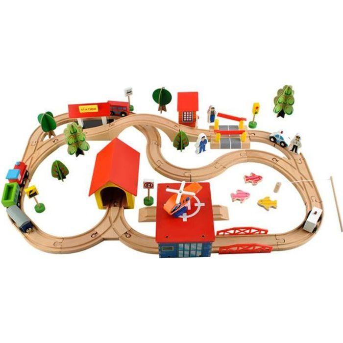 Petit train en bois, circuit de construction 69 pièces dès 3 ans Blanc