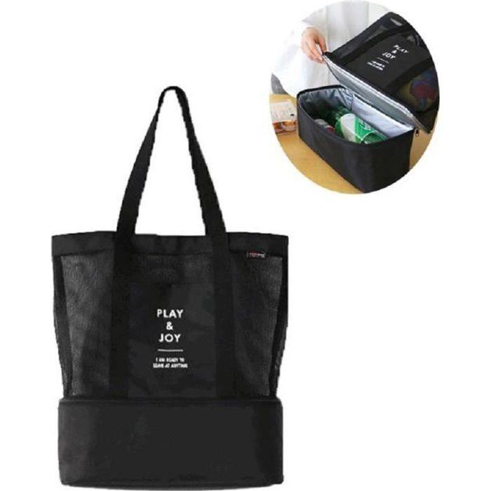 Cabas sac à pique-nique ou à provisions multifonctions pliable et isotherme pour le déjeuner, l'école , la plage et les courses NOIR