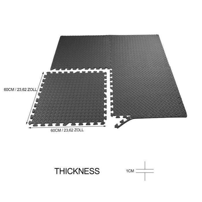 Ensemble de 48 dalles carrées EVA - Tapis de sol, sport, gymnastique, yoga Tapis Puzzle Antidérapant Mousse Noir 61 X 61 cm OUTAD