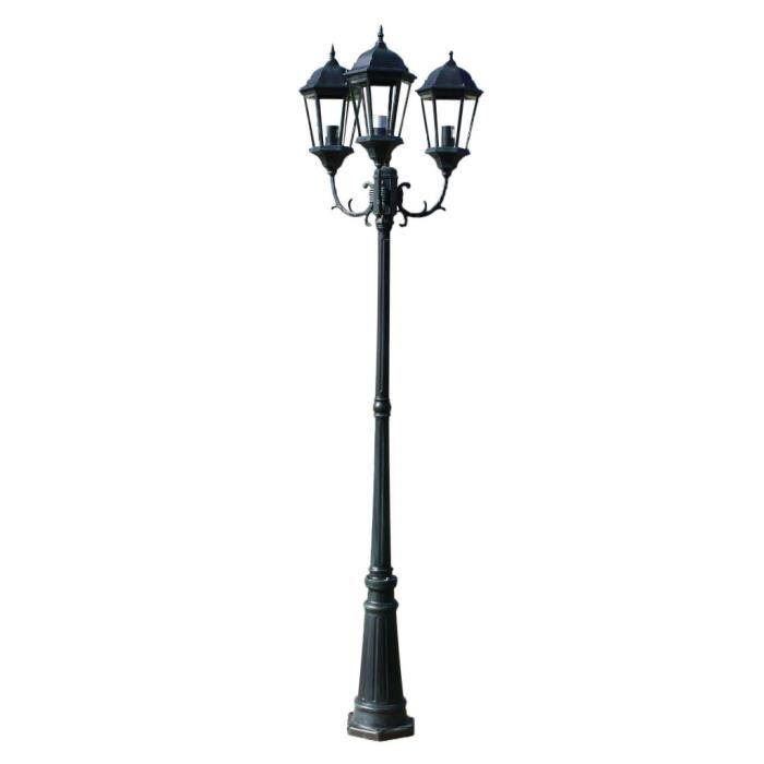 230 cm Lampadaire extérieur triple Vert foncé-Noir