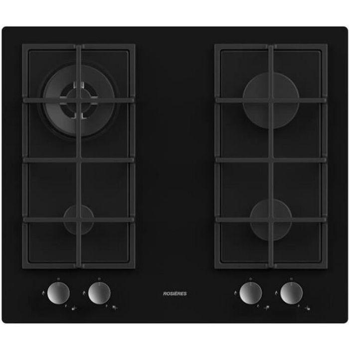 rosieres - table de cuisson gaz 60cm 4 feux noir - rvg6br4sb