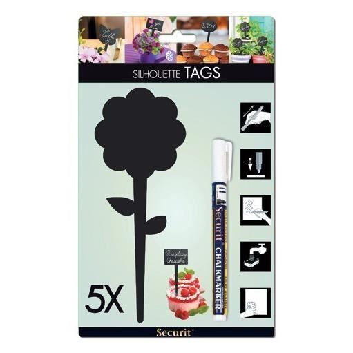 TAG Ardoise silhouette Fleur 5 unités + 1 craie liquide