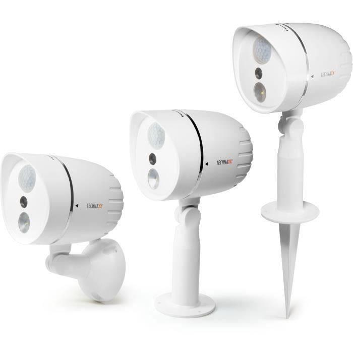 Technaxx Caméra HD extérieure alimentée par batteries & lampe LED avec détection de mouvement PIR