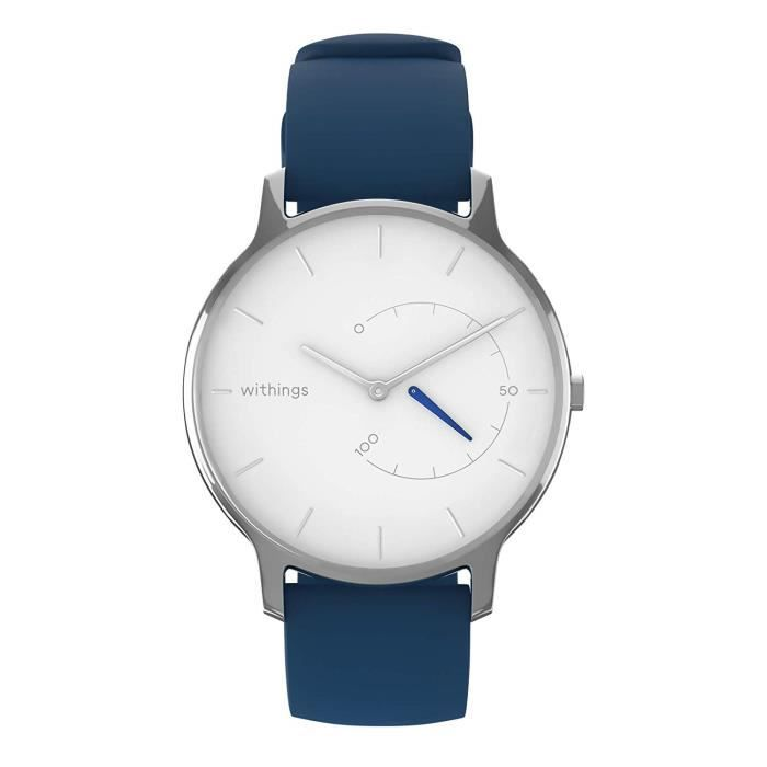 Withings Move Timeless Chic Silicone Blue Montre Connectée Adulte Unisexe, Blanc, 38mm - 3700546706011