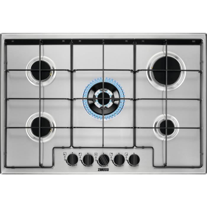 Zanussi ZGH75524XA, Intégré, Cuisinière à gaz, Acier inoxydable, Acier inoxydable, Émaillé, 1000 W