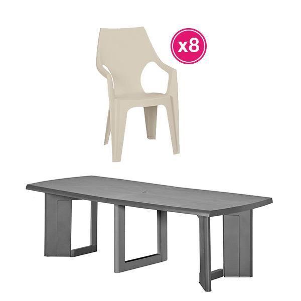 Salon de jardin: table graphite + 8 fauteuils cappuccino