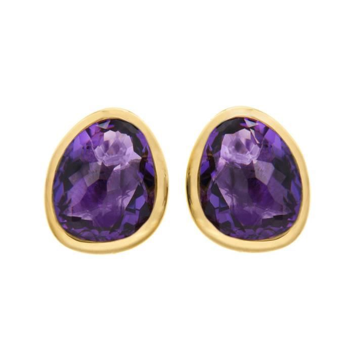 Womens 18ct Gold Plated athena Stud Earrings With Amethyst 1XBAYZ