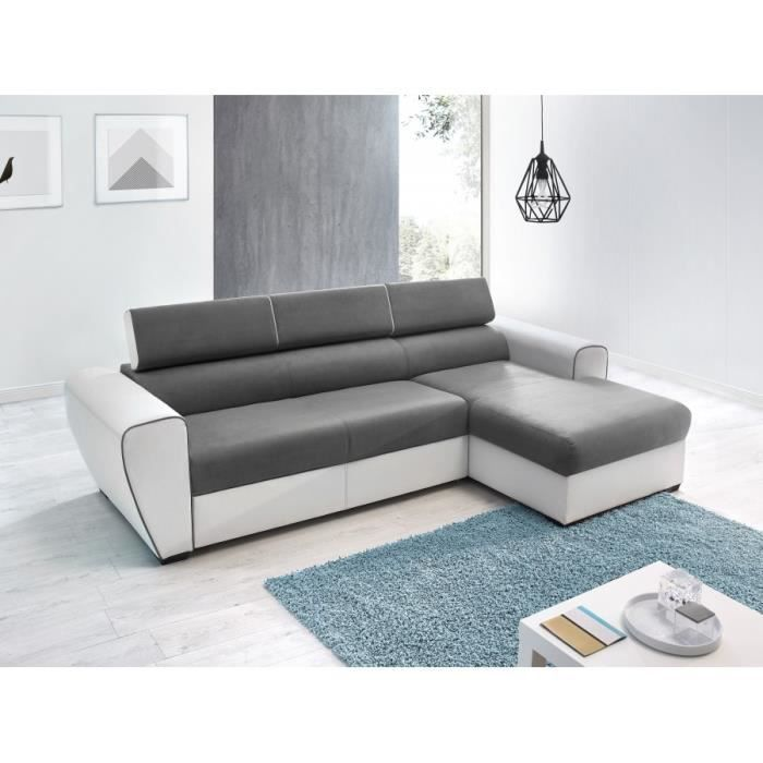 canape d 39 angle dear convertible avec coffre droit blanc gris achat ve. Black Bedroom Furniture Sets. Home Design Ideas