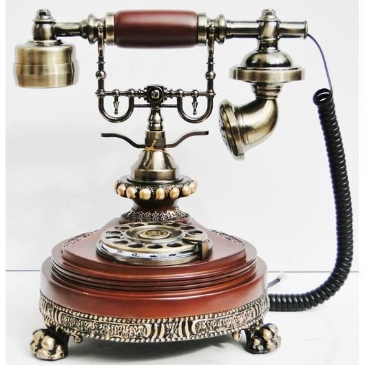 t l phone fixe antique en bois baroque vintage style 1920 r tro fonctionnel achat t l phone. Black Bedroom Furniture Sets. Home Design Ideas