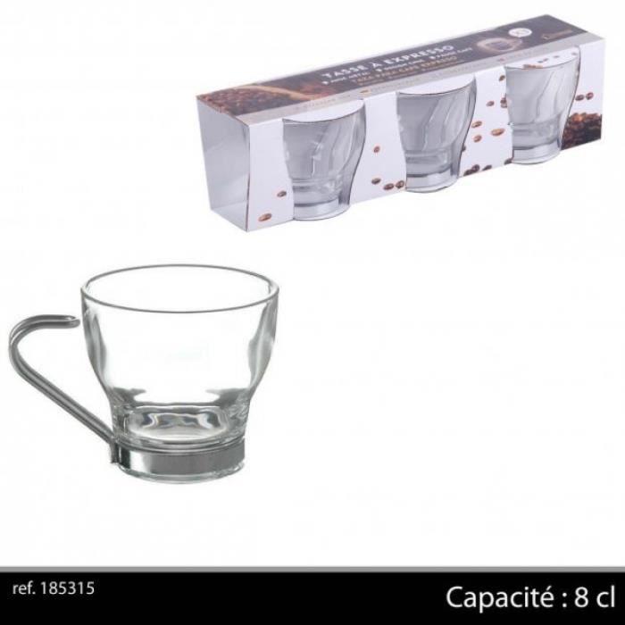 3 Tasses /à caf/é en verre avec anse m/étal 11cl