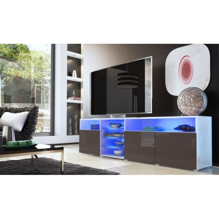 Meuble tv bas blanc chocolat 194 cm achat vente for Meuble bas salon blanc