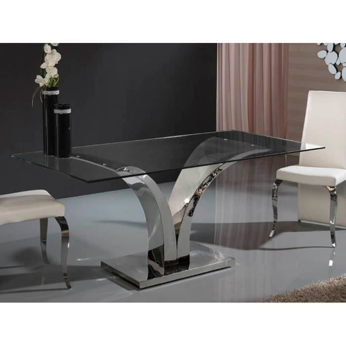 table design de salle a manger rectangulaire en verre et acier 200 cm achat vente table a. Black Bedroom Furniture Sets. Home Design Ideas