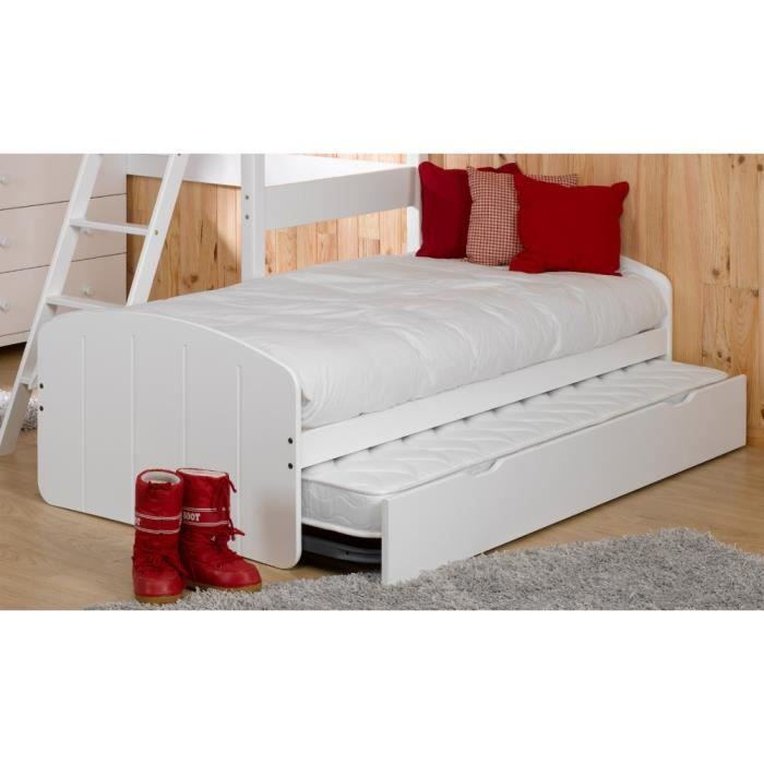 lit gigogne adulte 2 matelas 90x190 midi blanc achat vente lit gigogne lit gigogne 2. Black Bedroom Furniture Sets. Home Design Ideas