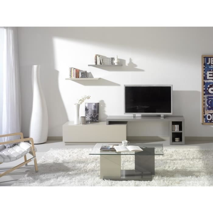 meuble tv modulable aina gris et moka achat vente meuble tv meuble tv modulable aina g. Black Bedroom Furniture Sets. Home Design Ideas