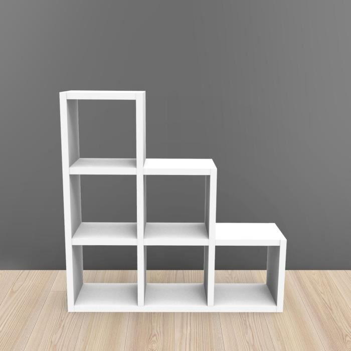 Etagere kubin blanc 6 cases achat vente meuble tag re for Meuble 6 cases blanc
