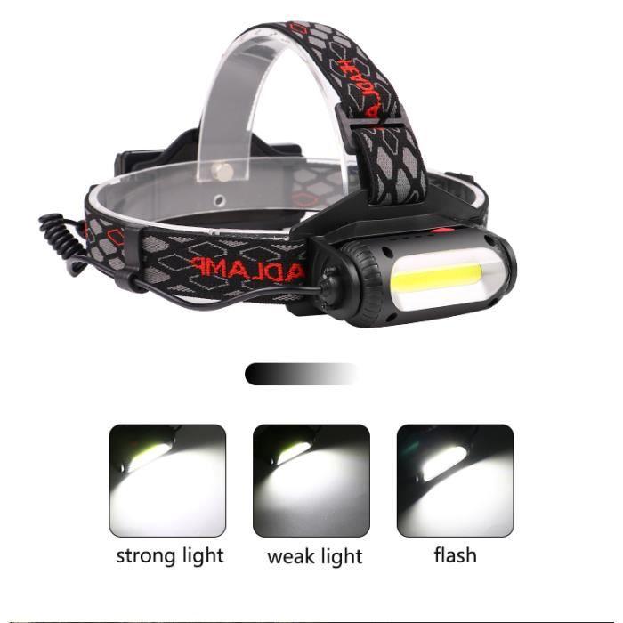 Lampe Torche LED Rechargeable avec 8 LEDs// 8 Modes d/éclairage// IPX4 /Étanche//C/âble USB 2 Batteries Fournis ERAY Lampe Frontale Puissante Chargeur de Voiture
