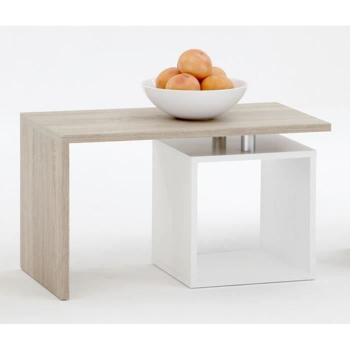 Klara table basse coloris ch ne et blanc achat vente for Table basse blanc et chene