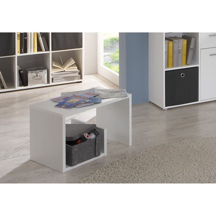 mike bout de canap l36cm blanc achat vente bout de. Black Bedroom Furniture Sets. Home Design Ideas