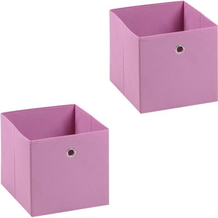 BOITE DE RANGEMENT Lot de 2 tiroirs en tissu rose ELA boîte de rangem