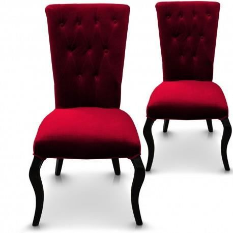 lot de 2 chaises capitonn es empire rouge achat vente. Black Bedroom Furniture Sets. Home Design Ideas