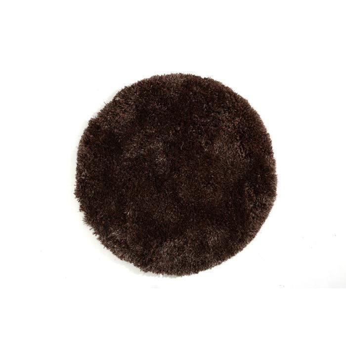 miliboo tapis shaggy rond chocolat 100 cm ugo achat vente tapis cdiscount. Black Bedroom Furniture Sets. Home Design Ideas