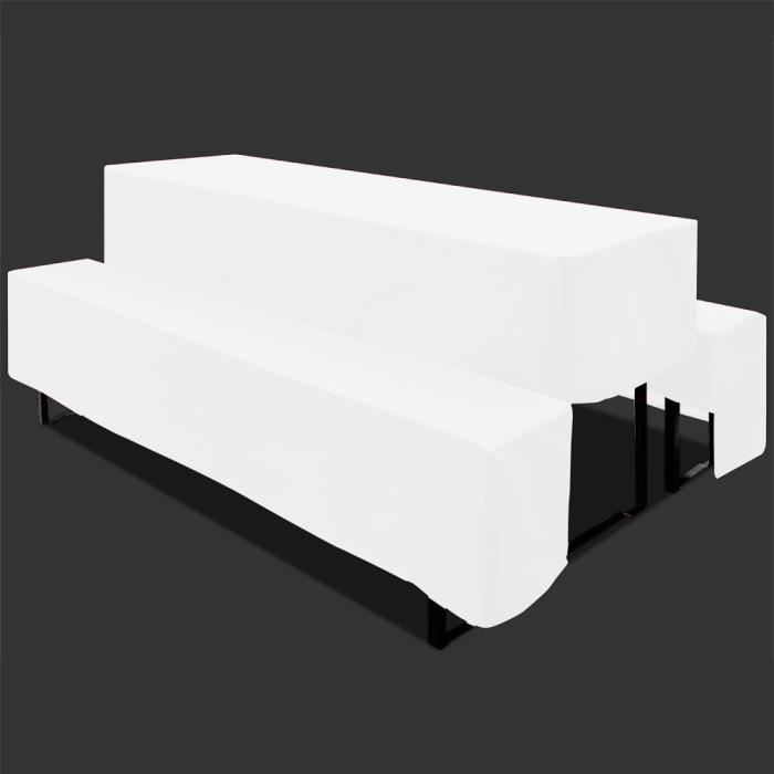 housse 3 pi ces pour table et banc de jardin nappe blanche protection achat vente housse. Black Bedroom Furniture Sets. Home Design Ideas