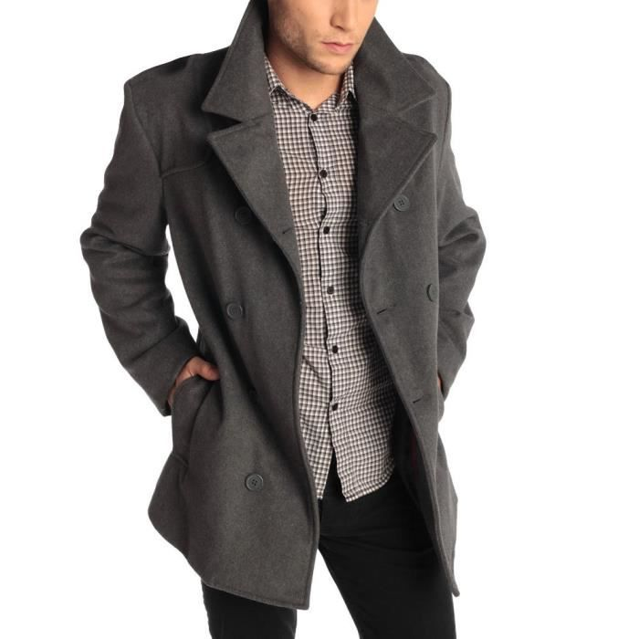 Smart Homme Veste Hiver Chaud Trench Button Long Pardessus Outwear wP1F4