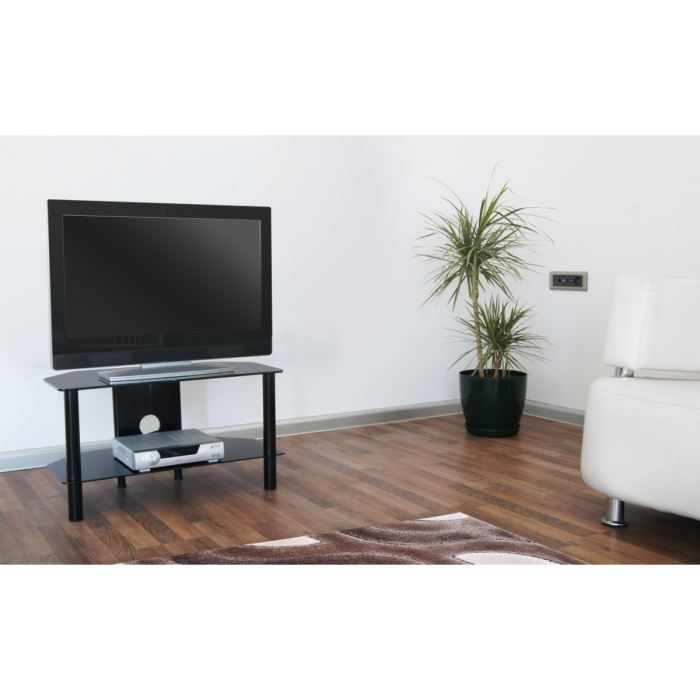 needs meuble tv 70cm noir verre tremp achat vente meuble tv needs meuble tv noir profil. Black Bedroom Furniture Sets. Home Design Ideas