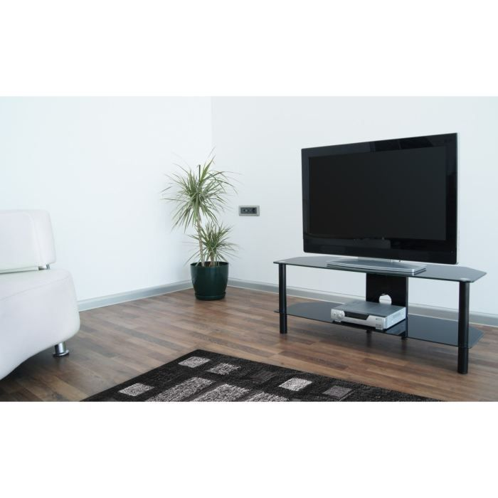 needs meuble tv 100cm noir verre tremp achat vente meuble tv needs meuble tv noir profil. Black Bedroom Furniture Sets. Home Design Ideas