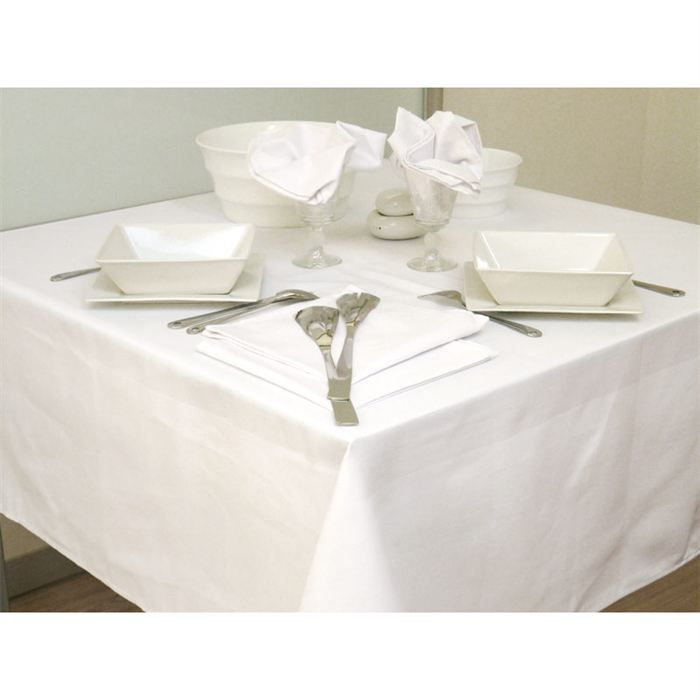 nappe carr e satin coton blanc achat vente nappe de table cdiscount. Black Bedroom Furniture Sets. Home Design Ideas