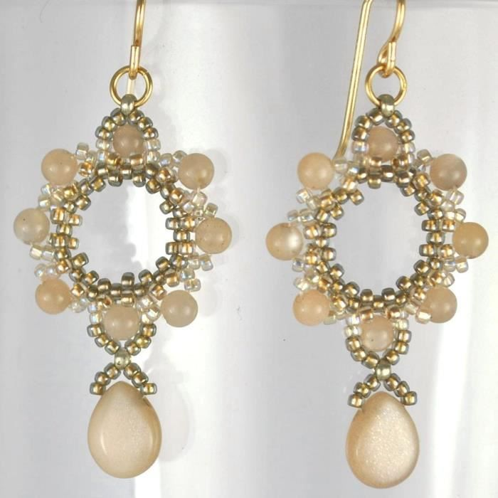 Womens Mocha Moonstone Earrings Artisan Crafted In 14k Gold Filled; One Of A Kind MG4VG