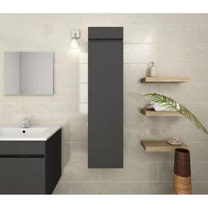 Meuble colonne salle de bain en bois design blanc - Achat ...