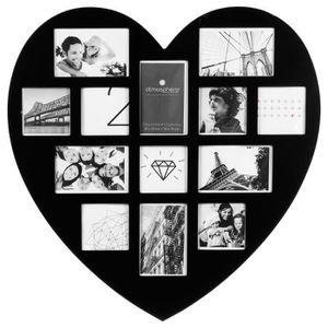 CADRE PHOTO Cadre photos pêle-mêle Cœur - 13 encarts - Noir
