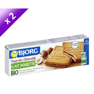 BISCUITS SECS BJORG Lot de 2 Fourrés Chocolat Lait Noisettes - 2