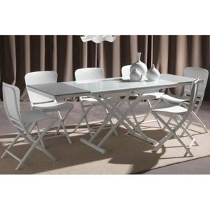 TABLE BASSE Table basse relevable extensible HAPPENING blanc p