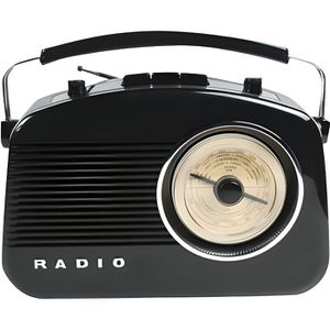 RADIO CD CASSETTE Radio AM/FM design rétro noir